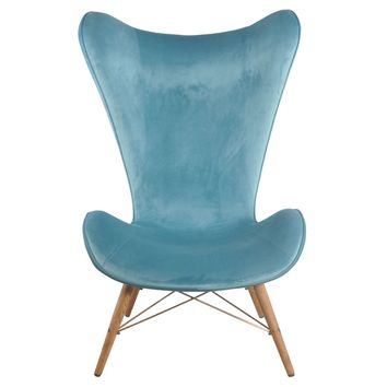 Mervyn Velvet Butterfly Chair Wooden Legs, Velvet Blue
