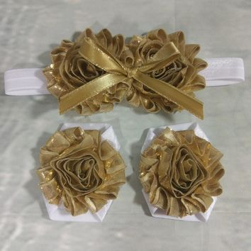 Gold Shabby and Bow Headband and Barefoot Sandal Set!