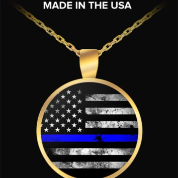 Thin Blue Line Gold Plated Pendant Necklace