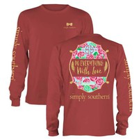 Simply Southern Preppy Collection With Love Long Sleeve Tee in Brick LS-PRPWITHLOVE-BRICK
