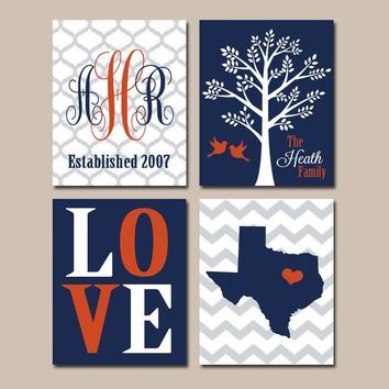 Family Tree Custom Wall Art CANVAS or Prints Navy Orange Monogram State LOVE Bird Tree Established Date Set of 4 Wedding Gift Navy Orange