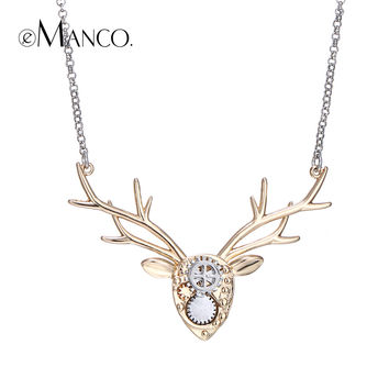 eManco brand image deer necklace copper animal choker necklaces mechanical design deer head accessories women Christmas gifts