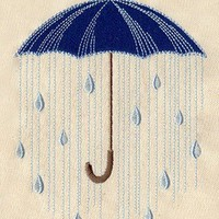 Blue Umbrella with raindrops embroidered apron by MorningTempest