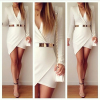 Sexy Womens Elsie Bodycon Dress - White- Wrap long sleeve dress = 5739647105