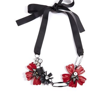 Embellished Flower And Ribbon Necklace