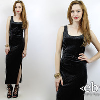 Vintage 90s Grunge Black Crushed Velvet Maxi Dress S Black Velvet Dress Goth Dress Black Maxi Dress 90s Grunge Dress Black Dress 90s Dress