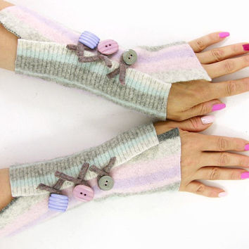 Pastel striped arm warmers fingerless gloves pink grey aqua wrists warmers fingerless mittens arm cuffs recycled wool eco friendly tagt team