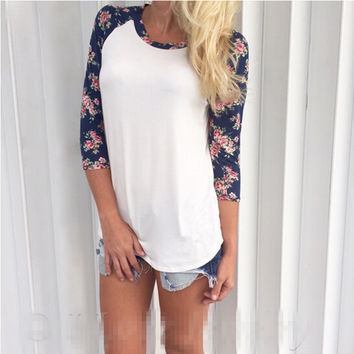 Floral 3/4 Print Sleeve T Shirt