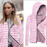 Pink Long-Sleeved Was Thin Coat Jacket Cotton