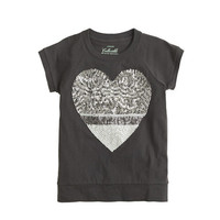 crewcuts Girls Colorblock Sequin Heart Tee