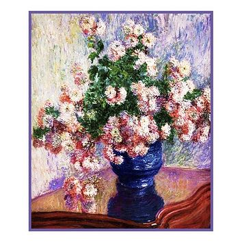 Chrysanthemums in a Vase inspired by Claude Monet's impressionist painting Counted Cross Stitch Pattern