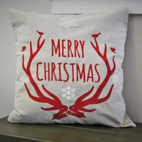 Christmas pillow cover, Merry and Bright, Christmas decor, Deer Antlers, Deer Christmas Pillow, Vintage christmas