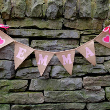 CUSTOMIZE ME Pink Wedding Banner,  Custom Burlap Pink Name Banner, Custom Burlap Banner, Wedding Decoration, Bridal Shower, Baby Banner
