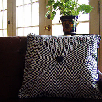 "Navy Blue Chevron Pieced Pillow Cover -- Piped Edges -- Envelope Closure -- 20"" x 20"""