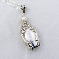 Bell necklace, Silverware jewelry,  knife bell pendant, silver pearl necklace, spoon jewelry, free gift box, choice chain