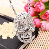 Headset Strass Sugar Skull Necklace Pendant Hippie Chic Punk Statement Jewelry Skeleton Silver Color Long Necklaces Women Collar - 2