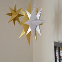 Glitter Hanging Paper Star, folded origami decoration in colored glitter - custom colors available