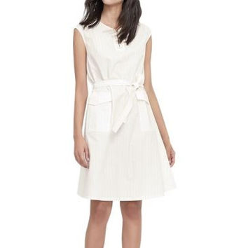 White Sleeveless Tie-Waist Front Pocket Detail Dress
