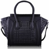 Womens Designer Black Studded Tote Leather Style Office Handbag KCMODE