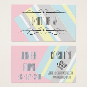 Modern Pastel Colors Personalized Business Card