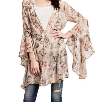 Easel Printed Flared Natural Bell Sleeved Kimono