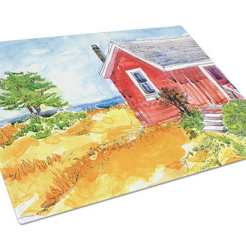 Old Red Cottage House at the lake or Beach Glass Cutting Board Large