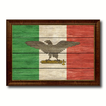 Italy War Eagle Italian Military Military Flag Texture Canvas Print with Brown Picture Frame Home Decor Wall Art Gifts
