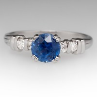 Transparent Blue Sapphire & Diamond Ring Platinum