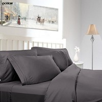 QOSON Egyptian Cotton Comfort 1800 Count 4 Piece Deep Pocket Bed Sheet Set