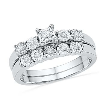 1/6 CT. T.W. Diamond Bubble Bridal Set in Sterling Silver|Zales
