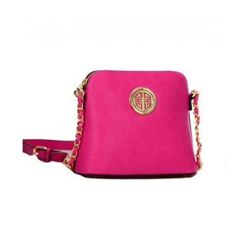 Women's Pink Messenger Bag With Gold Circle Accent