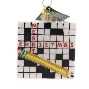 Old World Christmas CROSSWORD PUZZLE Glass Challenge Mind 44139