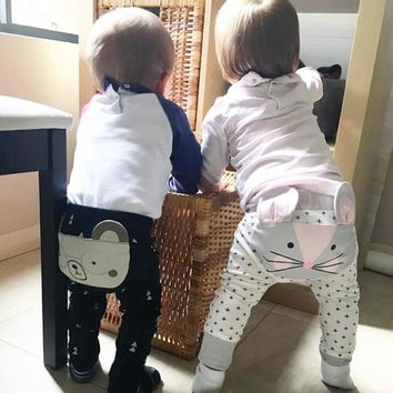 Baby Harem Unisex Pants With Elastic Waist & Animal Design