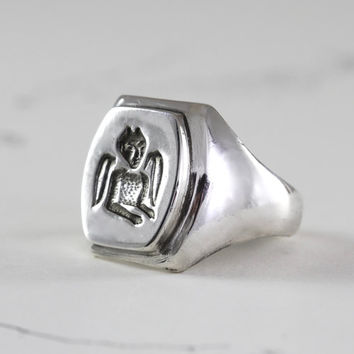 Vintage Style Sterling Signet Ring, Devil Signet Talisman Friendship Ring, Unisex Mens Jewelry, Artist Anniversary Gift