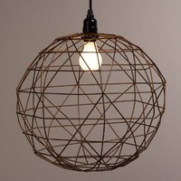 Bronze Round Twisted Wire Pendant Lamp