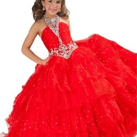 Y&C Girls Halter Sequins Ball Gown Ruffled Long Pageant dresses