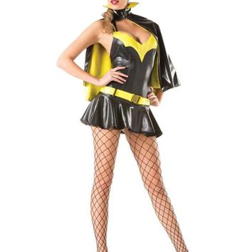 Adult Women's Sexy Batgirl Super Hero Halloween Costume 4pc Outfit Small/Medium