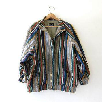 Vintage German Jacket. Slouchy Striped Cotton Jacket. Retro Oversized Coat.