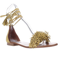 Steve Madden Sweetyy Ankle Tie Fringe Flat Sandals - Yellow