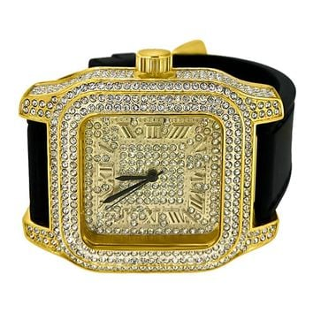 Full Square Block Gold Hip Hop Watch