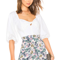 1. STATE Puff Sleeve Crop Top in Ultra White