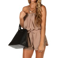 Taupe Strapless Lace Side