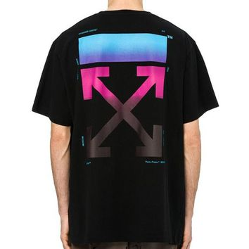 OFF-WHITE Tide brand men and women fashion wild loose paragraph rainbow gradient round neck half sleeve T-shirt Black