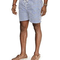 Polo Ralph Lauren Big & Tall Traveler Gingham Swim Shorts - Blue Gingh