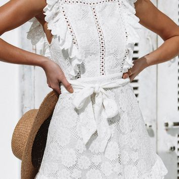 Country Chic White Lace Embroidery Floral Pattern Sleeveless Ruffle Square Neck Flare A Line Tie Belt Casual Mini Dress
