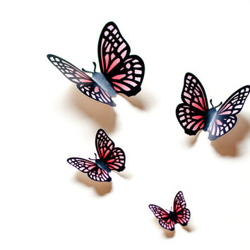 3D wall butterflies: salmon & light red gradient butterfly wall art for nursery, dorm, whimsical home decor