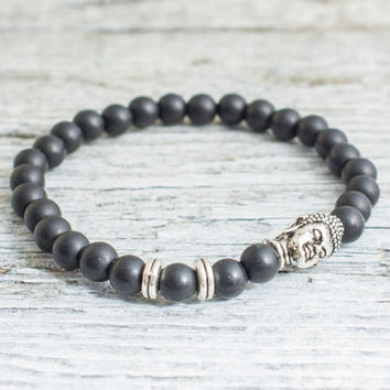 Matte black onyx beaded silver Buddha stretchy bracelet, made to order yoga bracelet, mens bracelet, womens bracelet