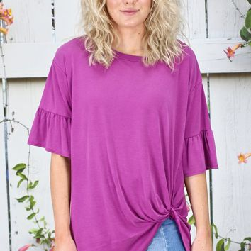 Get Twisted Ruffle Sleeves Modal Top {Magenta}