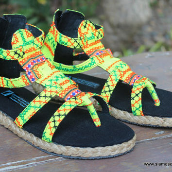 Boho Womens Gladiator Sandals In Yellow Hmong Embroidery Summer Shoes Isadora