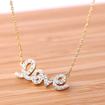 LOVE necklace with crystals, 2colors | girlsluv.it